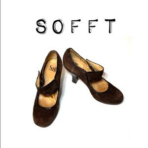 Sofft Brown Suede Mary Jane Strap Heels